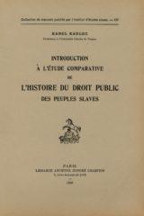 Introduction à l'étude comparative de l'histoire du droit public des peuples