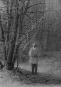 LNTI 1.35 Portrait de L.N. Tolstoï dans l'allée aux bouleaux sous la neige