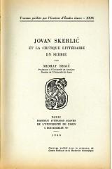 Jovan Skerlić et la critique littéraire en Serbie