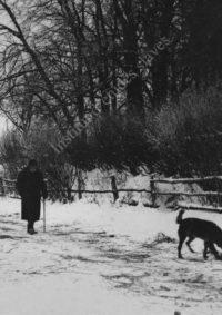 LNTI 5.35 L.N. Tolstoï marchant dans un paysage enneigé