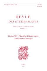 Paris, 1921 : l'Institut d'études slaves – acteur de la slavistique