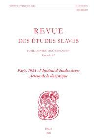 SOUS PRESSE – Paris, 1921 : l'Institut d'études slaves